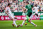15.04.2018, Weserstadion, Bremen, GER, 1.FBL, Werder Bremen vs RB Leipzig, <br /> <br /> im Bild | picture shows:<br /> Milot Rashica (SV Werder Bremen #11) setzt sich gegen Stefan Ilsanker (RB Leipzig #13) durch, <br /> <br /> <br /> Foto &copy; nordphoto / Rauch