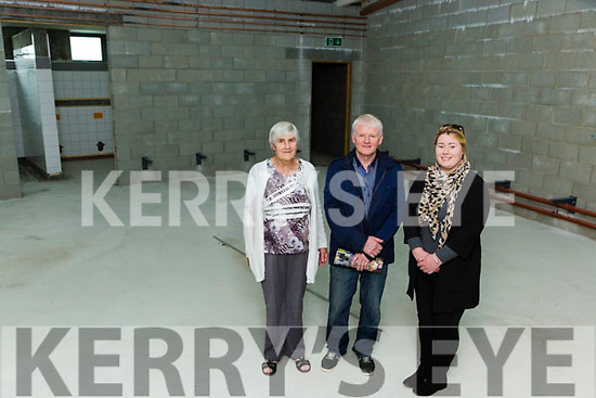 Cait O'Sullivan-darcy, Gerard mangan and Deirdre O'Sullivan Darcy Spa GAA taking a tour of the dressing rooms at Kerry's Centre of Excellence in Fossa on Friday