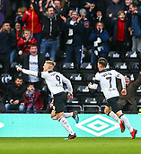 9th February 2019, Pride Park, Derby, England; EFL Championship football, Derby Country versus Hull City; Martyn Waghorn of Derby County runs to celebrate his goal in the 41st minute that makes it 1-0 with Harry Wilson of Derby County chasing