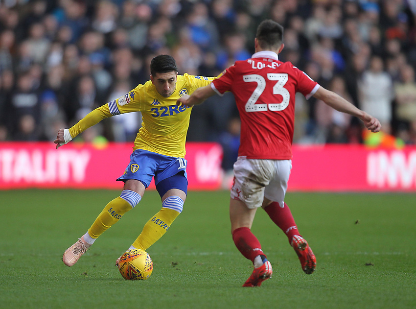 Leeds United's Pablo Hernandez in action with Nottingham Forest's Joe Lolley<br /> <br /> Photographer Mick Walker/CameraSport<br /> <br /> The EFL Sky Bet Championship - Nottingham Forest v Leeds United - Tuesday 1st January 2019 - The City Ground - Nottingham<br /> <br /> World Copyright © 2019 CameraSport. All rights reserved. 43 Linden Ave. Countesthorpe. Leicester. England. LE8 5PG - Tel: +44 (0) 116 277 4147 - admin@camerasport.com - www.camerasport.com
