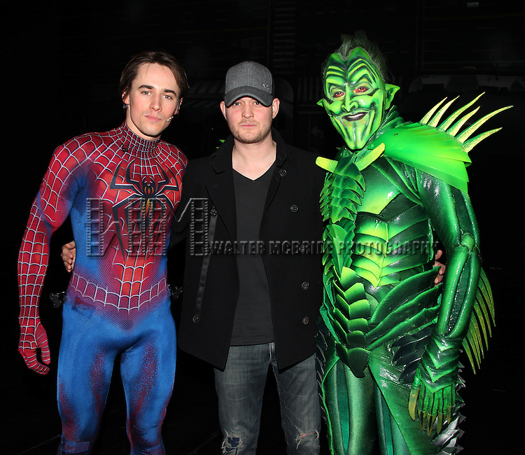 Michael Buble visits Reeve Carney & Patrick Page.Backstage at  'SPIDER-MAN Turn Off The Dark' at the  Foxwoods Theatre in New York City.