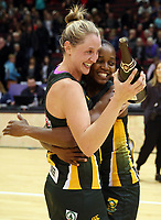 03.09.2017 South Africa's Erin Burger (L) and Precious Mthembu celebrate after the Quad Series netball match between England and South Africa at the ILT Stadium Southland in Invercargill. Mandatory Photo Credit ©Michael Bradley.