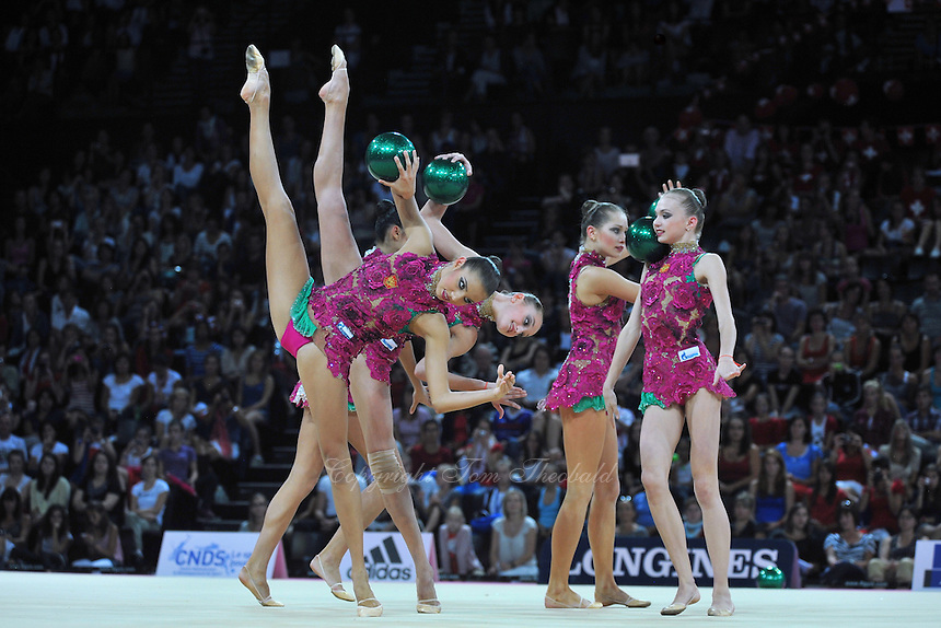 September 24, 2011; Montpellier, France;  Russia group performs with 5-balls at 2011 World Championships Montpellier. Photo by Tom Theobald.