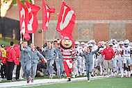 College Park, MD - NOV 12, 2016: Ohio State Buckeyes are lead onto the field by mascot Brutus during the game between Maryland and Ohio State at Capital One Field at Maryland Stadium in College Park, MD. (Photo by Phil Peters/Media Images International)