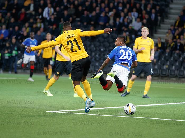 03.10.2019 Young Boys of Bern v Rangers: Alfredo Morelos takesa a tumble but no penalty