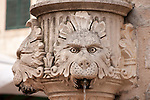 Fountain with three heads in Dubrovnik, Croatia.