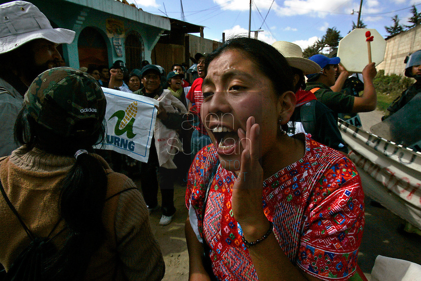 Indigenous people demonstrate against U.S. President Bush in Tecp·n Guatemala, Guatemala. Bush visited a nearby Mayan site, IximchÈ.