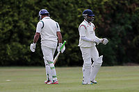 M Akhtar (L) of Ilford leaves the field having been dismissed during Brentwood CC vs Ilford CC, Shepherd Neame Essex League Cricket at The Old County Ground on 8th June 2019