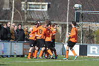 VOETBAL: JOURE: Sportpark de Hege Simmerdyk, 20-04-2013, Amateurvoetbal 2012-2013, SC Joure zat. afd. - Oudehaske, VV Oudehaske scoort 0-1, Eindstand 1-1, ©foto Martin de Jong