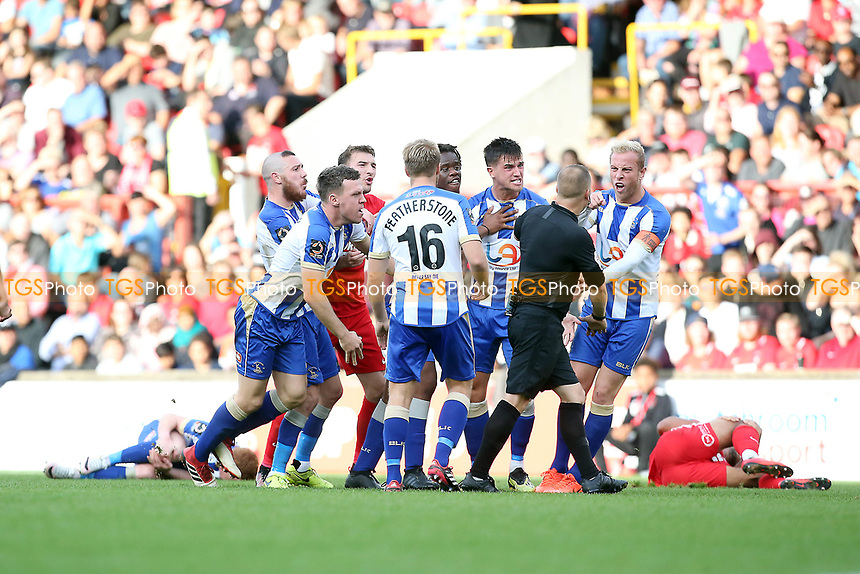 Hartlep[ools players don't like O's Joe Widdowson red card tackle on Michael Woods during Leyton Orient vs Hartlepool United, Vanarama National League Football at The Breyer Group Stadium on 13th October 2018