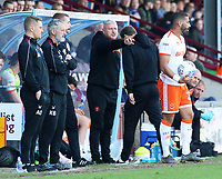 Blackpool's Manager Terry McPhillips shouts instructions to his team from the touchline<br /> <br /> Photographer David Shipman/CameraSport<br /> <br /> The EFL Sky Bet League One - Scunthorpe United v Blackpool - Friday 19th April 2019 - Glanford Park - Scunthorpe<br /> <br /> World Copyright © 2019 CameraSport. All rights reserved. 43 Linden Ave. Countesthorpe. Leicester. England. LE8 5PG - Tel: +44 (0) 116 277 4147 - admin@camerasport.com - www.camerasport.com