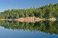 White pine-Hemlock-northern hardwoods Forest  reflected in George Lake<br /> Killarney Provincial Park<br /> Ontario<br /> Canada