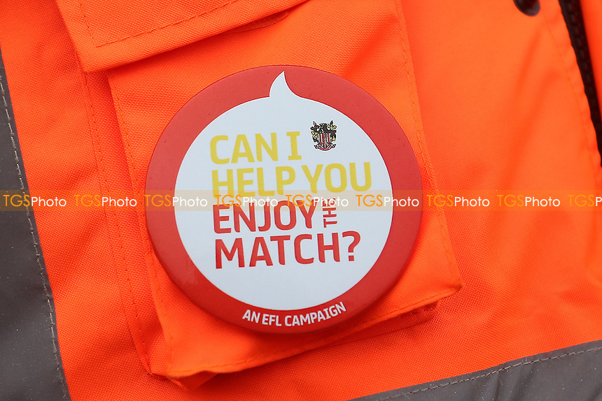 EFL Can I Help You Enjoy The Match Badge? during Stevenage vs Newport County, Sky Bet EFL League 2 Football at the Lamex Stadium on 7th January 2017