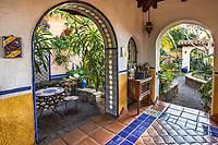 Outdoor secret garden room with painted walls Jim Bishop and Scott Borden garden