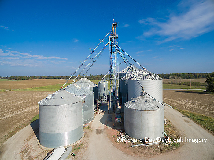 63801-08114 Farmer's grain bins and elevator- aerial Marion Co. IL