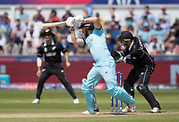 Jonny Bairstow (England) makes room and drives into the off side during England vs New Zealand, ICC World Cup Cricket at The Riverside Ground on 3rd July 2019