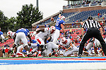 Southern Methodist Mustangs defensive lineman Andrew McCleneghen (95) in action during the game between the Rutgers Scarlet Knights and the SMU Mustangs at the Gerald J. Ford Stadium in Fort Worth, Texas. Rutgers defeats SMU 55 to 52 in triple OT.
