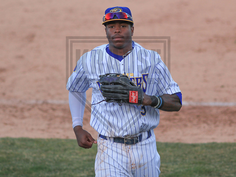 APPLETON - April 2015: outfielder Monte Harrison (3) of the Wisconsin Timber Rattlers during a game against the Peoria Chiefs on April 12th, 2015 at Fox Cities Stadium in Appleton, Wisconsin. (Photo Credit: Brad Krause)