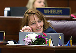 Nevada Assembly Minority Leader Marilyn Kirkpatrick, D-North Las Vegas, listens to Assembly floor discussion of the live entertainment tax in the final hours of the session at the Legislative Building in Carson City, Nev., on Monday, June 1, 2015. The Assembly approved the measure 38-2. <br /> Photo by Cathleen Allison