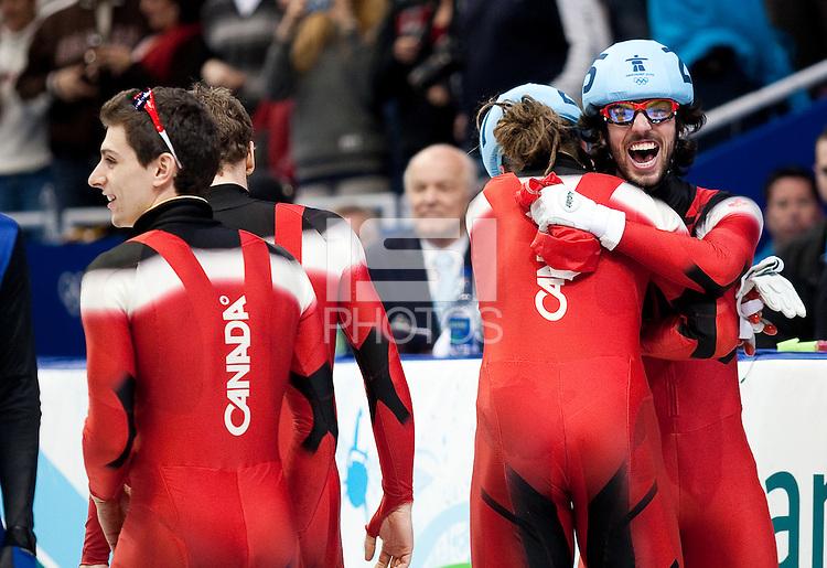 VANCOUVER, CANADA--Men's Short Track 5000m relay, Pacific Coliseum.