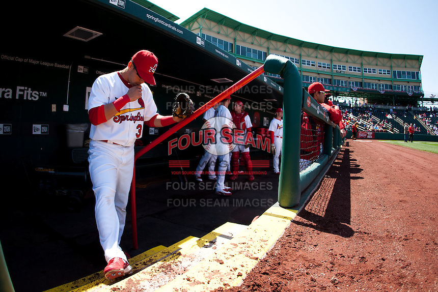 Jose Garcia (3) of the Springfield Cardinals takes a moment to himself prior to a game against the /f/ on April 16, 2011 at Hammons Field in Springfield, Missouri.  Photo By David Welker/Four Seam Images