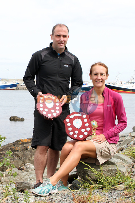 "Mark Watters (3D Tri) from Dublin who won 1st place and Trudy Brown (Real Triathlon) from Belfast who won Ladies 1st place at the 2.5km ""Round the Head Swim""  in Clogherhead, Co.Louth.....(Photo credit should read Jenny Matthews/NEWSFILE)....This Picture has been sent you under the condtions enclosed by:.Newsfile Ltd..The Studio,.Millmount Abbey,.Drogheda,.Co Meath..Ireland..Tel: +353(0)41-9871240.Fax: +353(0)41-9871260.GSM: +353(0)86-2500958.email: pictures@newsfile.ie.www.newsfile.ie.FTP: 193.120.102.198."