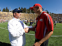 California head coach Jeff Tedford shakes hands with Southern Utah head coach Ed Lamb after the game at Memorial Stadium in Berkeley, California on September 8th, 2012.   California Golden Bears defeated Southern Utah, 50-31.