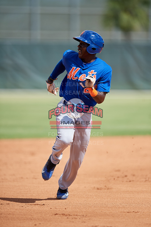 GCL Mets third baseman Jaylen Palmer (22) runs the bases during a game against the GCL Cardinals on August 6, 2018 at Roger Dean Chevrolet Stadium in Jupiter, Florida.  GCL Cardinals defeated GCL Mets 6-3.  (Mike Janes/Four Seam Images)