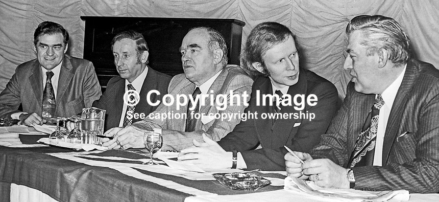 Leaders of the UUUC, United Ulster Unionist Council, line up for a Press Conference following their discussions in Enniskillen, Co Fermanagh. Left to right: Ernest Baird, Rev Roy Magee, Harry West, Reg Empey and Rev Ian Paisley. 10th January 1976. 197601100029.<br />