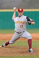 Relief pitcher Zack Cook (17) of the Winthrop University Eagles delivers a pitch in a game against the University of South Carolina Upstate Spartans on Wednesday, March 4, 2015, at Cleveland S. Harley Park in Spartanburg, South Carolina. Upstate won, 12-3. (Tom Priddy/Four Seam Images)