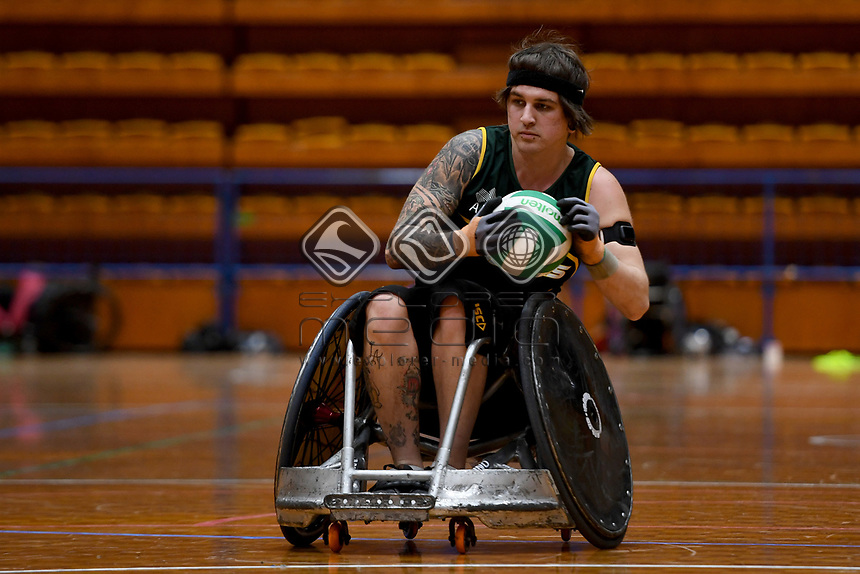 Jayden Warn (AUS)<br /> Australian Steelers WC Training Camp<br /> Australian Wheelchair Rugby Team<br /> Australian Paralympic Committee<br /> Darwin NT / NTIS Stadium<br /> Monday 16 July 2018<br /> © Sport the library / Jeff Crow