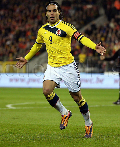 14.11.2013 Brussels, Belgium. Radamel Falcao Garcia celebreates as he scores during the International friendly match between Belgium and Columbia from the King Baudouin Stadium.