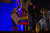 MEXICALI,  MEXICO - January 24. A group of Venezuelans gather in a public demonstration supporting Juan Guaido on January 24, 2018 in Mexicali, Mexico. Donald Trump has promptly recognized formerly-unknown Juan Guaigó as interim president of Venezuela. Sec. of State Mike Pompeo announced that the US is ready to provide more than $20,000,000 in humanitarian aid to the people of Venezuela. (Photo by Luis Boza/VIEWpress)