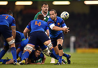Frederic Michalak of France passes the ball. Rugby World Cup Pool D match between France and Ireland on October 11, 2015 at the Millennium Stadium in Cardiff, Wales. Photo by: Patrick Khachfe / Onside Images