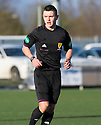 Referee Nicky Walsh. <br /> <br /> <br /> 15/02/2014   jspa018_smuir_v_efife     <br /> Copyright  Pic : James Stewart   <br /> <br /> James Stewart Photography 19 Carronlea Drive, Falkirk. FK2 8DN      Vat Reg No. 607 6932 25   Tel:  +44 (0)7721 416997<br /> E-mail  :  jim@jspa.co.uk   If you require further information then contact Jim Stewart on any of the numbers above........