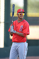Los Angeles Angels shortstop Jose Rondon (7) before an Instructional League game against the Milwaukee Brewers on October 11, 2013 at Tempe Diablo Stadium Complex in Tempe, Arizona.  (Mike Janes/Four Seam Images)