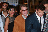 CENTURY CITY, CA, USA - NOVEMBER 14: Tamara Taylor, Ryan O'Neal, David Boreanaz pose at FOX's 'Bones' 200th Episode Celebration With The Cast And Producers held at the Fox Studio Lot on November 14, 2014 in Century City, California, United States. (Photo by David Acosta/Celebrity Monitor)