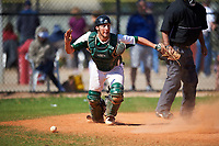 Farmingdale State Rams catcher Anthony Sirianni (42) checks the runner while retrieving the ball after blocking a pitch in the dirt during the first game of a doubleheader against the FDU-Florham Devils on March 15, 2017 at Lake Myrtle Park in Auburndale, Florida.  Farmingdale defeated FDU-Florham 6-3.  (Mike Janes/Four Seam Images)