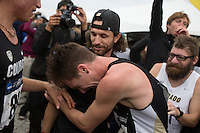 Colorado's Jake Hurysz (86) reacts after the team won the title during the NCAA Cross Country Championships in Terre Haute, Ind. on Saturday, Nov. 22, 2014. (James Brosher, Special to the Denver Post)