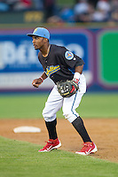 Reading Fightin Phils second baseman Albert Cartwright (13) on defense against the Akron Rubber Ducks at FirstEnergy Stadium on June 19, 2014 in Wappingers Falls, New York.  The Rubber Ducks defeated the Fightin Phils 3-2.  (Brian Westerholt/Four Seam Images)