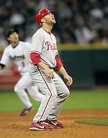 Phillies IF Eric Bruntlett on Thursday May 22nd at Minute Maid Park in Houston, Texas. Photo by Andrew Woolley / Four Seam Images.