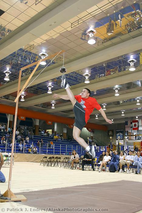 One foot high kick at the World Eskimo Indian Olympics held annually in July, Fairbanks, Alaska.