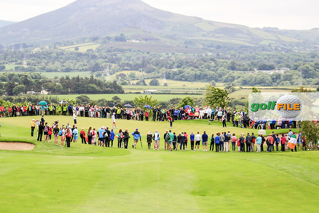 Olivia Mehaffy and Hannah O&quot;Sullivan on the 9th during Sunday Singles matches at the 2016 Curtis cup from Dun Laoghaire Golf Club, Ballyman Rd, Enniskerry, Co. Wicklow, Ireland. 12/06/2016.<br /> Picture Fran Caffrey / Golffile.ie<br /> <br /> All photo usage must carry mandatory copyright credit (&copy; Golffile | Fran Caffrey)