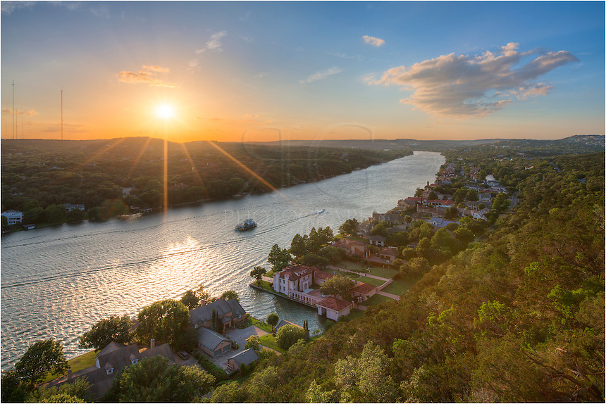 Mount Bonnell is an Austin icon. Popular among locals and tourists alike, this lookout offers landscape views of the distant hill country as well as the 360 Bridge (officially known as Pennybacker Bridge). This image comes from a spring evening in late May.