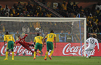 Substitute goalkeeper Moneeb Josephs could not stop Diego Forlan's penlty effort, which gave Uruguay a 2-0 lead in the 80th minute. Uruguay defeated South Africa, 2-0, in both teams' second match of play in Group A of the 2010 FIFA World Cup. The match was played at Loftus Versfeld in Pretoria, South Africa June 16th.