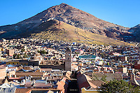 A view of Potosi, with Cerro Rico rising in the background. The richest silver mines in the world were once found here.