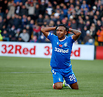 10.11.2019: Livingston v Rangers: Alfredo Morelos reacts after being tackled