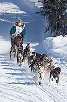 Jody Bailey on Long Lake at the Re-Start of the 2012 Iditarod Sled Dog Race