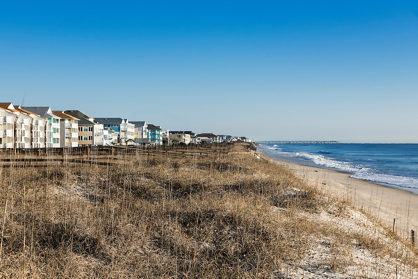 Waterfront beach houses along Carolina Beach, North Carolina, USA