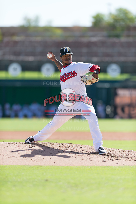Glendale Desert Dogs relief pitcher Jared Robinson (57), of the Cleveland Indians organization, delivers a pitch during an Arizona Fall League game against the Mesa Solar Sox at Camelback Ranch on October 15, 2018 in Glendale, Arizona. Mesa defeated Glendale 8-0. (Zachary Lucy/Four Seam Images)